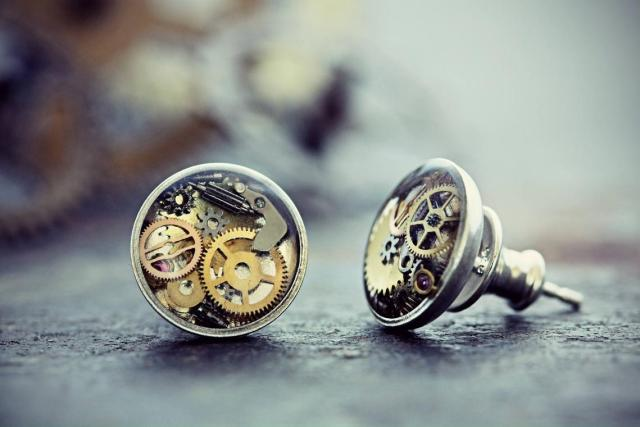 Watch Part Earrings Steampunk Jewelry Studs Sterling Silver Resin Clock Gears Gift For Her Gothic Clothing Victorian Costume 3