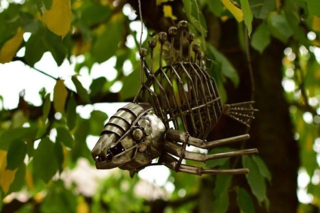 Fish metal steampunk monster abstract exclusive handmade sculpture , Shark killer and cyber mechanism sea giant. Material Stainless steel  7