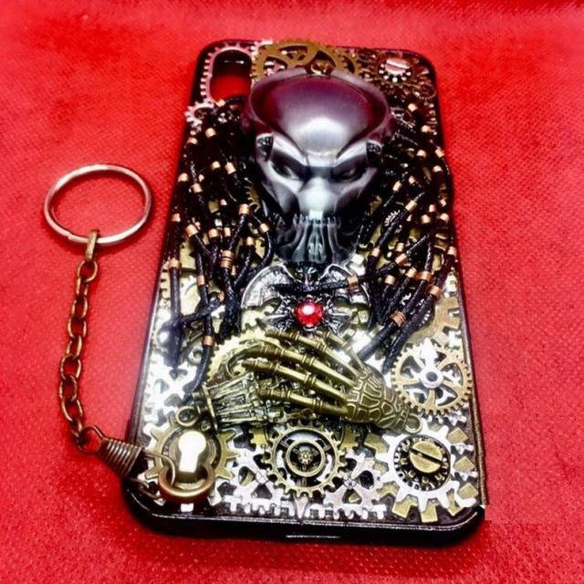 Handmade Steampunk Phone Case Personalised Metal Gears Gothic Alien Predator Artwork Phone Back Cover Gift for Rocker Biker
