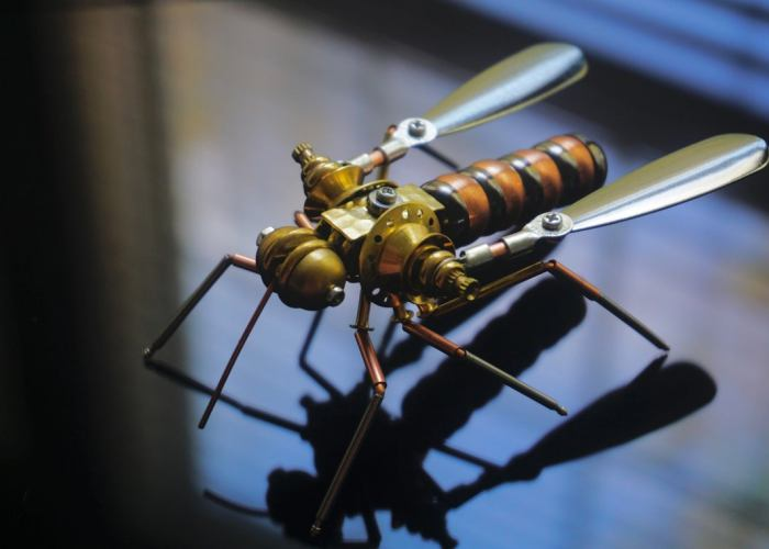 Mosquito: A Metallic Cyborg Insect. Steampunk 4