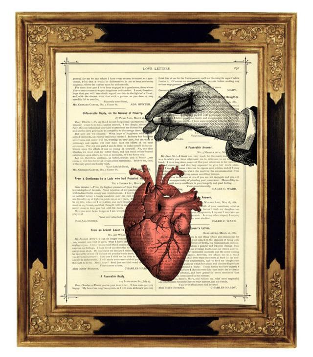 Anatomical Heart Thread Hand - Vintage Victorian Book Page Art Print Steampunk Valentine's Day Love  2