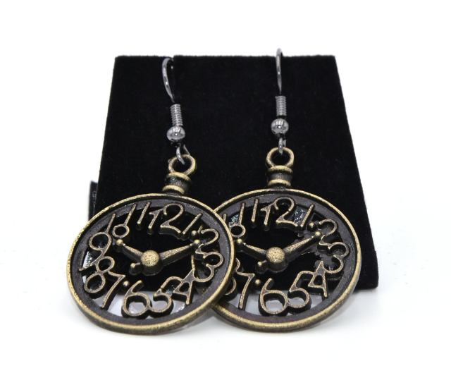 Clock earrings; fan of numbers; steampunk style; mathematical; time will tell