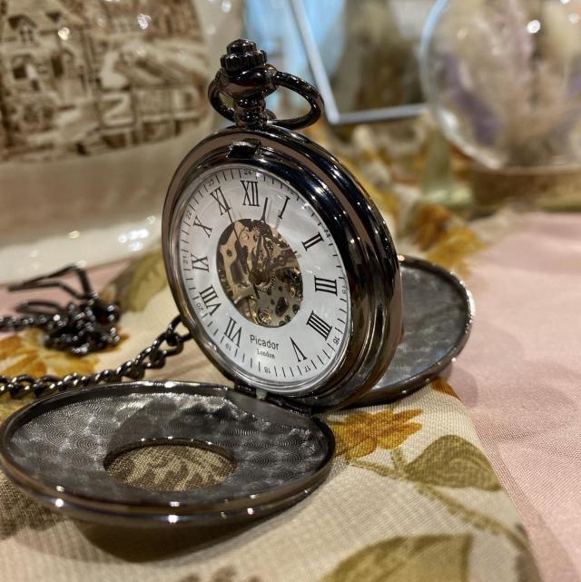 Vintage Mechanical Skeleton Pocket Watch, Engraved Royal Black Double Hunter  1