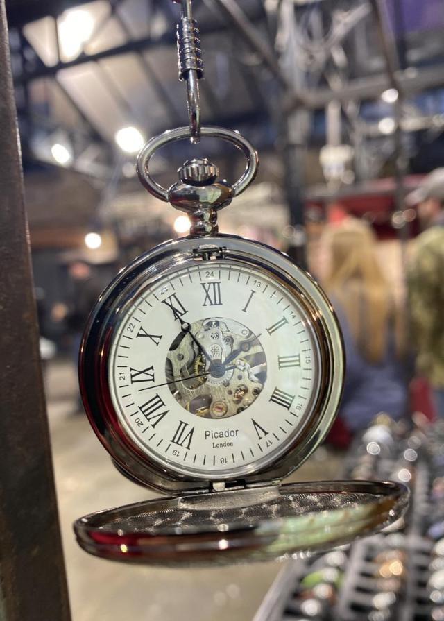 Vintage Mechanical Skeleton Pocket Watch, Engraved Royal Black Double Hunter  2