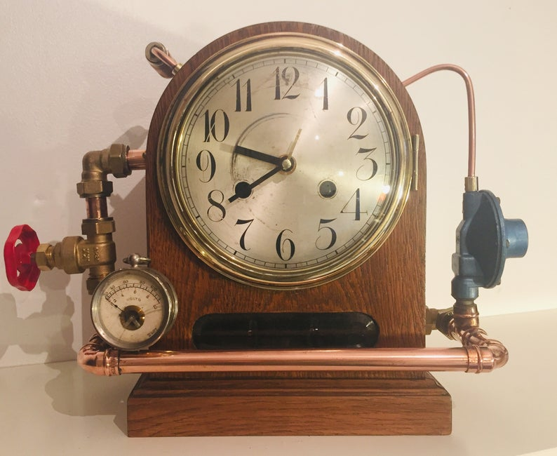 Antique-Industrial-Mantel-Clock-120-Years-Old-Victorian-Style-Steampunk-2