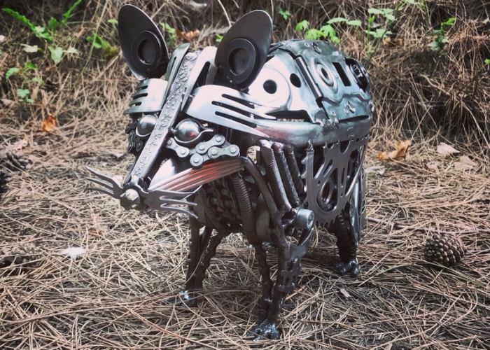 Steampunk Scrap Metal Raccoon Sculpture.