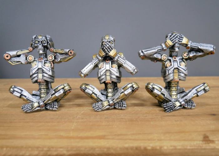 Steampunk Skeleton three Wise Skeletons (Not Monkeys).