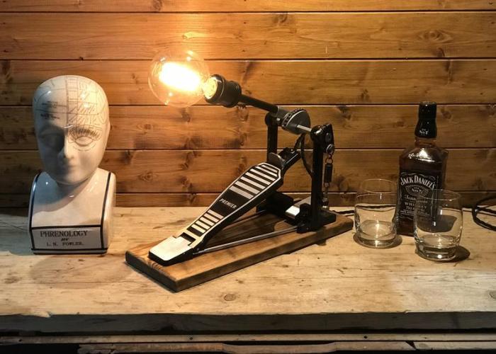 Vintage Premier Drum Pedal Steampunk Desk/Table Lamp.