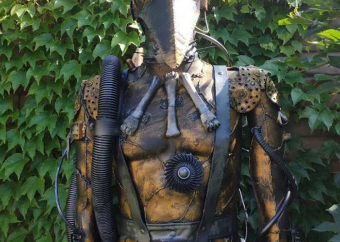 Steampunk Post-Apocalypse Plague Doctor Sculpture. Created by Alive Steel.