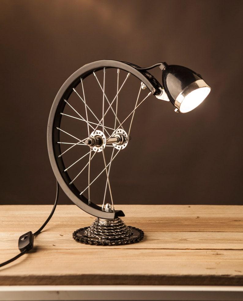 Industrial Steampunk Bicycle Wheel Lamp. Created by AlampraGR