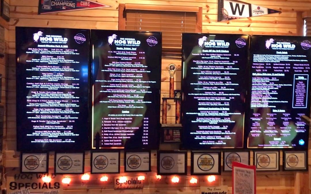 Digital Menu Boards at Hog Wild