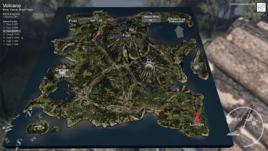 Steam Community    Guide    Volcano route guide     how to get lummber from the picup point to the objective on the map  Volcano  For the purpose of this guide i have used long logs hauled by the  D 537