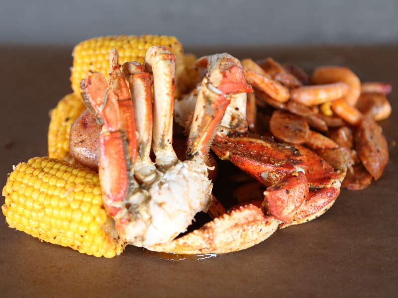 Cajun Boil at Steamworks Brewing Company is fun to eat