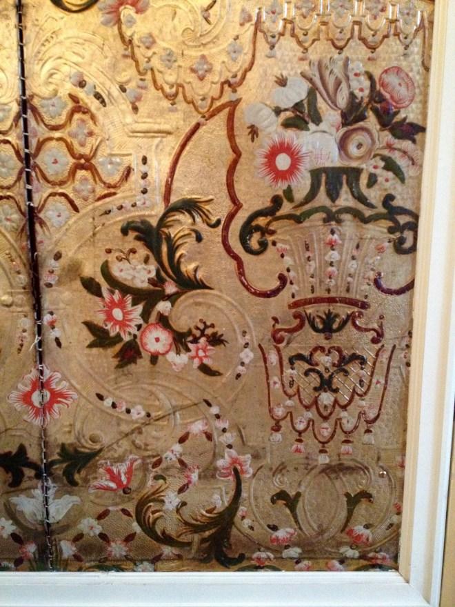 Det gyldne lædertapet i Guldsalen, Voergaard Slot, Vendsyssel, Danmark.