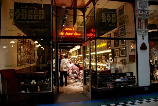 Barber shop, Barton Arcade, Manchester, England.