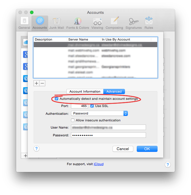 Problems with os x Yosemite mail forgetting settings - mac mail smtp account settings