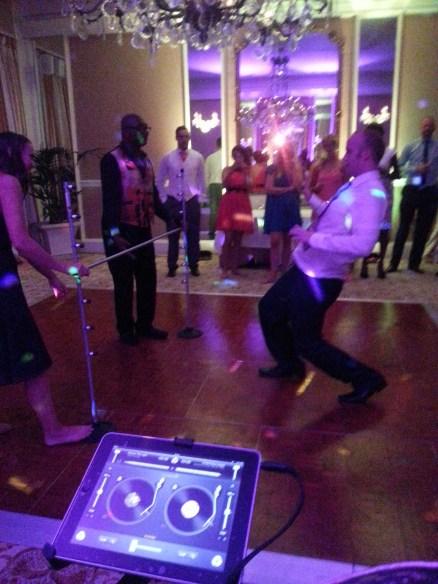 groom limbo dance