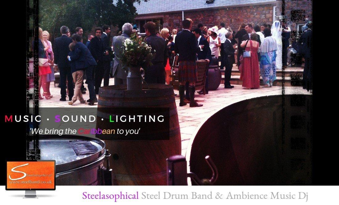 Steelasophical wedding steel band DJ | steel band duo for a drinks reception. Jersey Guernsey