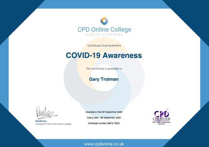 Covid 19 steel band Steelasophical Gary Trotman CPD certificate