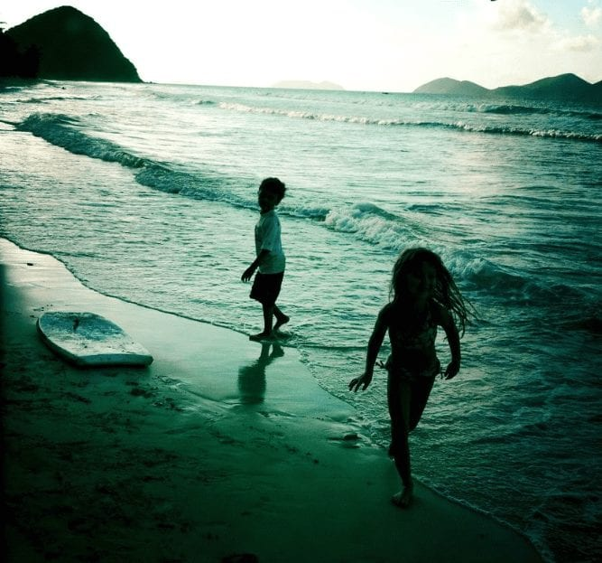 Kids at the Beach in Tortola