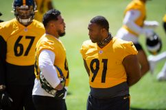 Pittsburgh Steelers defensive end Stephon Tuitt (91) trains at Heinz Field during the Steelers 2020 Training Camp, Friday, Aug. 19, 2022 in Pittsburgh, PA. (Caitlyn Epes / Pittsburgh Steelers)