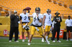 Pittsburgh Steelers quarterback Devlin Hodges (6) trains at Heinz Field during the Steelers 2020 Training Camp, Monday, Aug. 24, 2020 in Pittsburgh, PA. (Karl Roser / Pittsburgh Steelers)