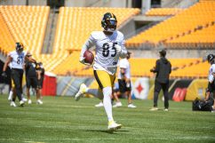 Pittsburgh Steelers tight end Eric Ebron (85) trains at Heinz Field during the Steelers 2020 Training Camp, Wednesday, Aug. 19, 2020 in Pittsburgh, PA. (Karl Roser / Pittsburgh Steelers)