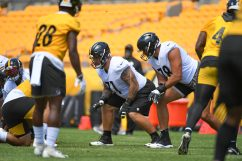 Pittsburgh Steelers offensive tackle Matt Feiler (71) trains at Heinz Field during the Steelers 2020 Training Camp, Wednesday, Aug. 19, 2020 in Pittsburgh, PA. (Karl Roser / Pittsburgh Steelers)