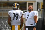 Pittsburgh Steelers quarterback Ben Roethlisberger (7) trains at Heinz Field during the Steelers 2020 Training Camp, Friday, Aug. 21, 2020 in Pittsburgh, PA. (Karl Roser / Pittsburgh Steelers)