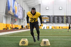 Pittsburgh Steelers safety Minkah Fitzpatrick (39) trains at the UPMC Rooney Sports Complex during the Steelers 2020 Training Camp, Tuesday, Aug. 25, 2020 in Pittsburgh, PA. (Karl Roser / Pittsburgh Steelers)