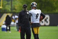 Pittsburgh Steelers Head Coach Mike Tomlin and Pittsburgh Steelers kicker Chris Boswell (9) practice at the UPMC Rooney Sports Complex preparing for a Week 1 matchup against the New York Giants, Saturday, Sept. 12, 2020 in Pittsburgh, PA. (Caitlyn Epes / Pittsburgh Steelers)