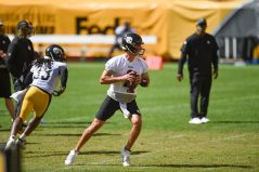 Pittsburgh Steelers quarterback Mason Rudolph (2) trains at Heinz Field during the Steelers 2020 Training Camp, Friday, Sept. 4, 2020 in Pittsburgh, PA. (Caitlyn Epes / Pittsburgh Steelers)