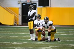 Pittsburgh Steelers punter Corliss Waitman (8), Pittsburgh Steelers long snapper Liam McCullough (46) and Pittsburgh Steelers punter Jordan Berry (4) train at the UPMC Rooney Sports Complex during the Steelers 2020 Training Camp, Thursday, Sept. 3, 2020 in Pittsburgh, PA. (Karl Roser / Pittsburgh Steelers)