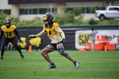 Pittsburgh Steelers safety Terrell Edmunds (34) practices at the UPMC Rooney Sports Complex preparing for a Week 1 matchup against the New York Giants, Monday, Sept. 7, 2020 in Pittsburgh, PA. (Karl Roser / Pittsburgh Steelers)