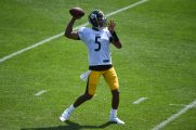 Pittsburgh Steelers quarterback Joshua Dobbs (5) practices at the UPMC Rooney Sports Complex preparing for a Week 1 matchup against the New York Giants, Wednesday, Sept. 9, 2020 in Pittsburgh, PA. (Caitlyn Epes / Pittsburgh Steelers)