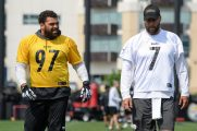 Pittsburgh Steelers defensive tackle Cameron Heyward (97) and Pittsburgh Steelers quarterback Ben Roethlisberger (7) participate in the Organized Team Activities (OTAs), Tuesday May 25, 2021 at the UPMC Rooney Sports Complex. (Caitlyn Epes / Pittsburgh Steelers)
