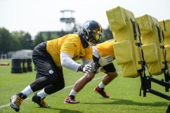 Pittsburgh Steelers defensive tackle Cameron Heyward (97) participates in the Organized Team Activities (OTAs), Tuesday May 25, 2021 at the UPMC Rooney Sports Complex. (Caitlyn Epes / Pittsburgh Steelers)