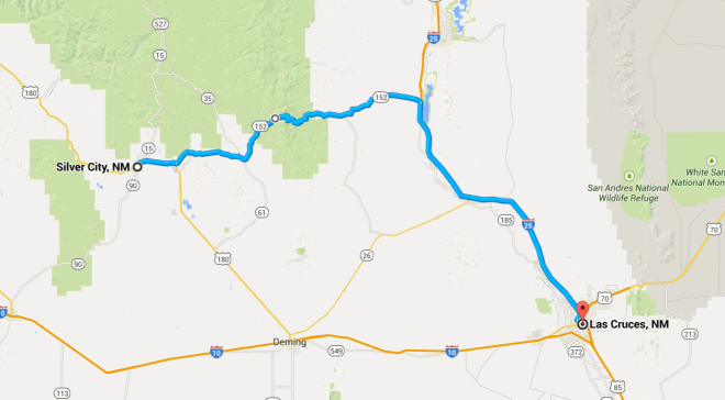 Intended Day 17 Route from Silver City