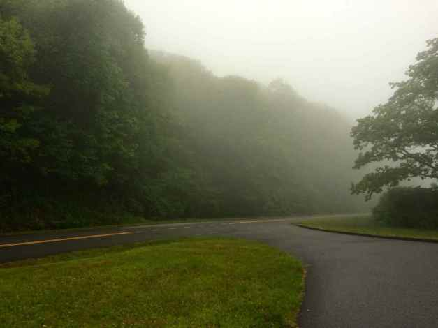 Just the start of the fog on the Blue Ridge Parkway