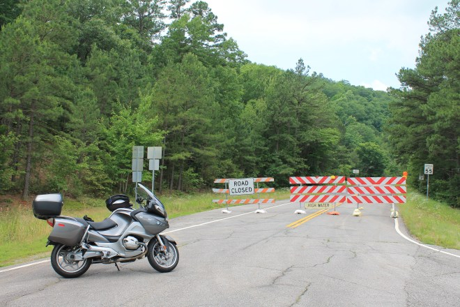 Western half of Talimena Byway closed due to high water.