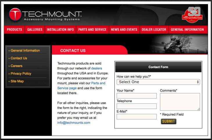 Techmount Contact Us Form