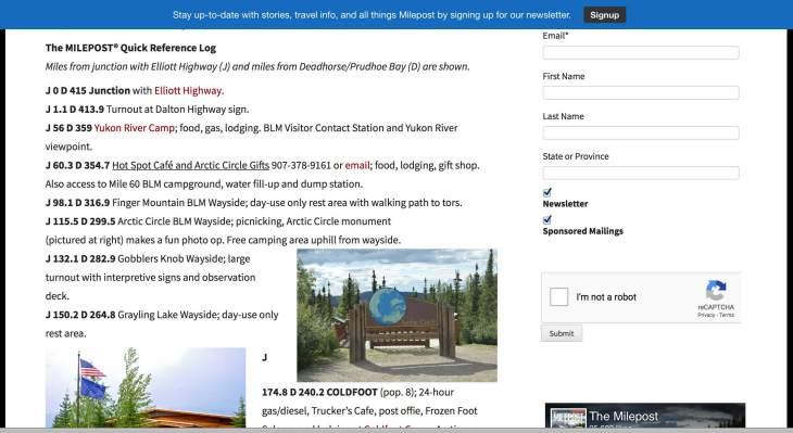 Milepost Quick Ref MP sites