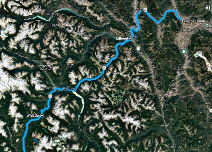 Hwy 99 satelite mountains