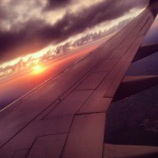flying to Chicago as sunrises