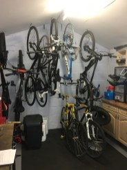The storage area of the bike workshop