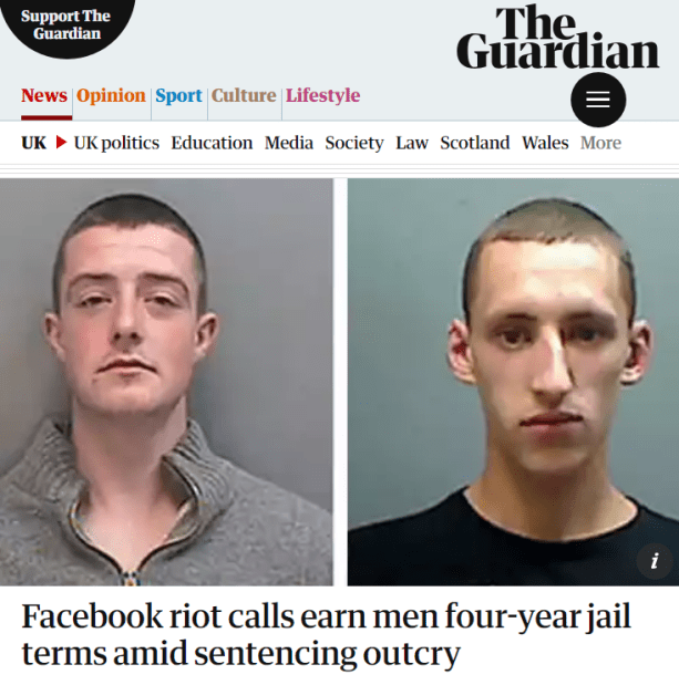 UK jails 2 young men four years each for posting a post on Facebook in August 2011