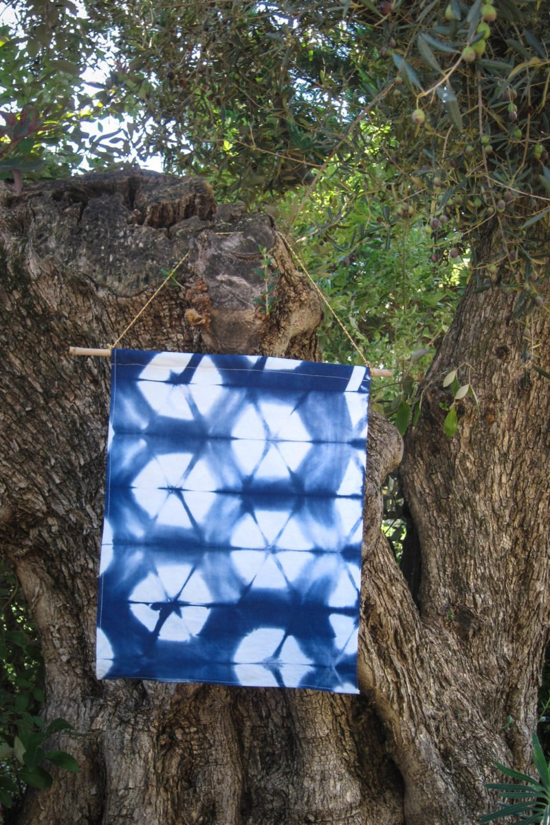 Hand dyed shibori wall-hanging