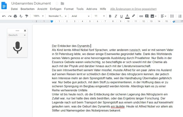 Screenshot Diktat in Google Docs
