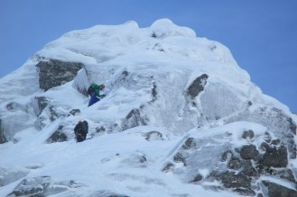 Stefan and Mr Fisher on the Icy upper pitches of Tower Ridge