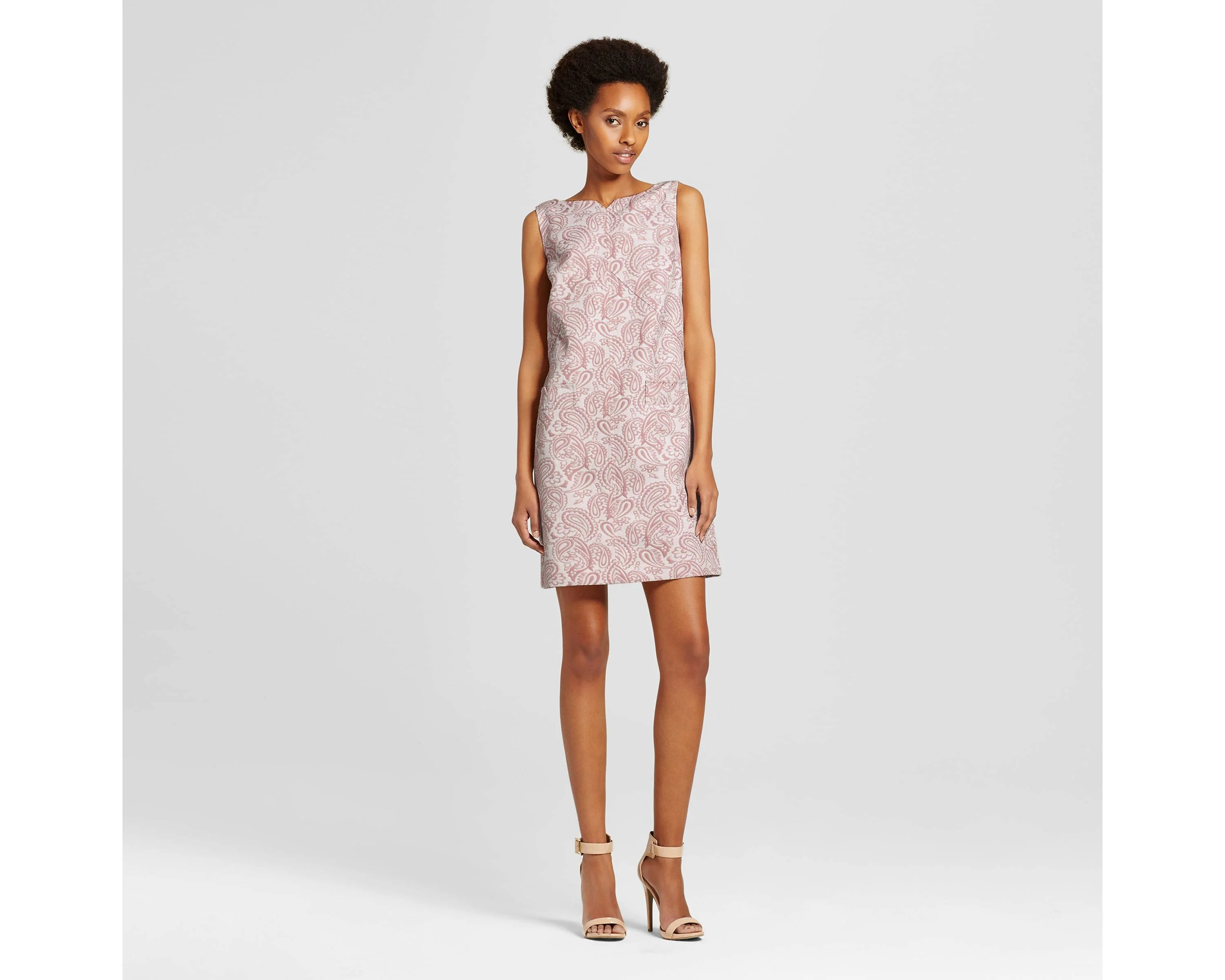 Blush Floral Jacquard Shift Dress with Pockets